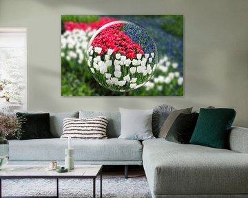 Kristallkugel mit roten  weißen und blauen Blumen von Ben Schonewille