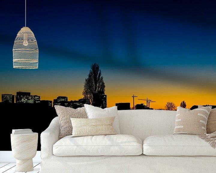 Sfeerimpressie behang: Skyline van de Amsterdamse Zuidas. van Don Fonzarelli
