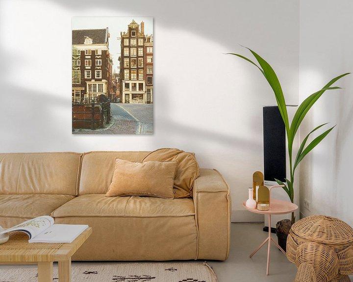 Sfeerimpressie: Schilderij: Singel-Lijnbaans Steeg, Amsterdam van Igor Shterenberg
