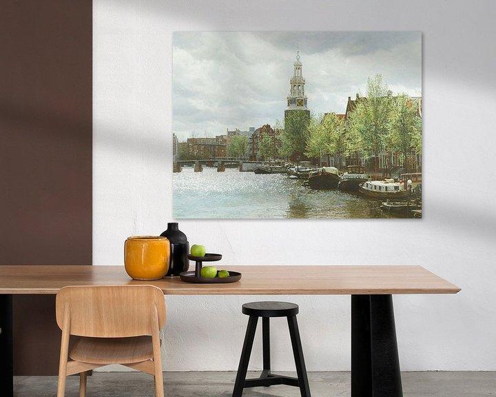 Sfeerimpressie: Schilderij: Waalseilandgracht, Amsterdam van Igor Shterenberg
