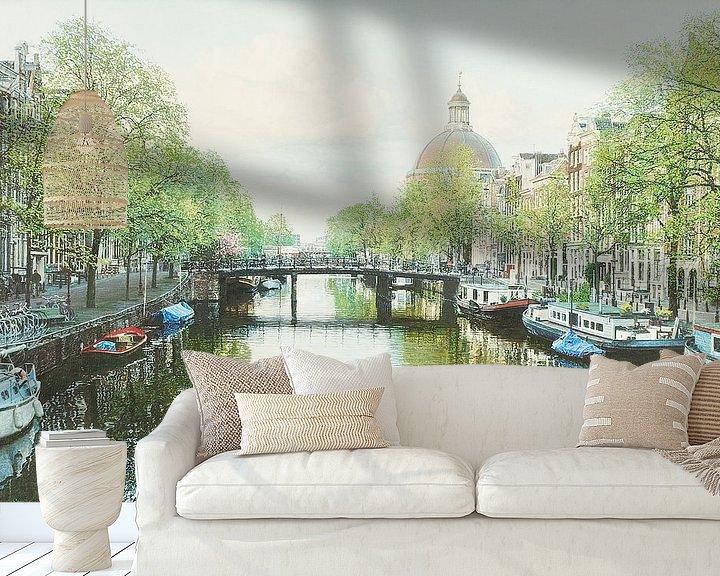 Sfeerimpressie behang: Schilderij: Amsterdam, Singel van Igor Shterenberg
