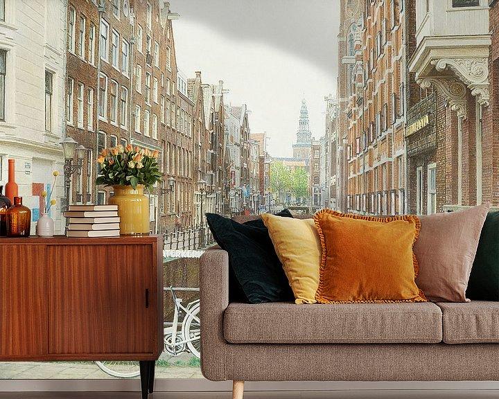 Sfeerimpressie behang: Schilderij: Amsterdam, Oudezijds Kolk van Igor Shterenberg