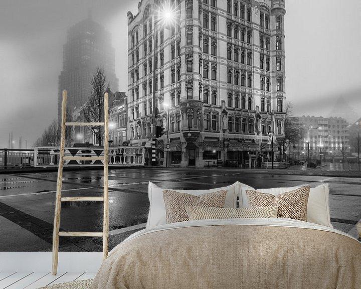 Sfeerimpressie behang: Het Witte huis Rotterdam van Rob van der Teen