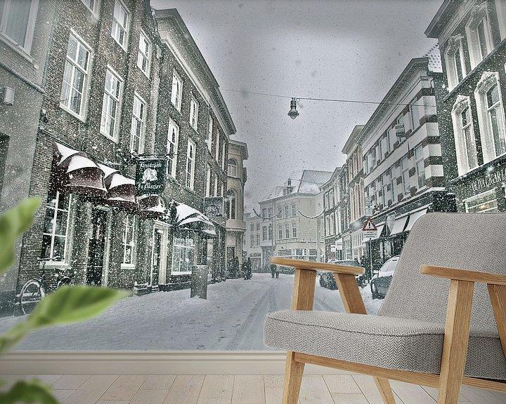 Sfeerimpressie behang: Winteropname Vughterstraat Den Bosch van Jasper van de Gein Photography