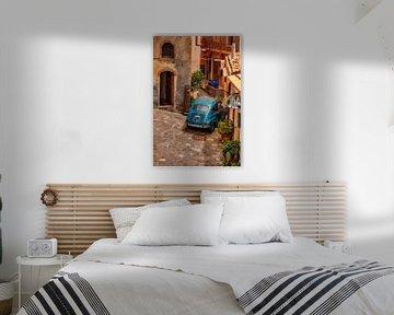 Taurmina Sicilia italy fiat 500 in italienischem Dorf Fotoposter oder Wanddekoration von Edwin Hunter