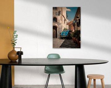 Taormina (Siciliaans: Taurmina)  Sicilië Italië. fotoposter of  wanddecoratie