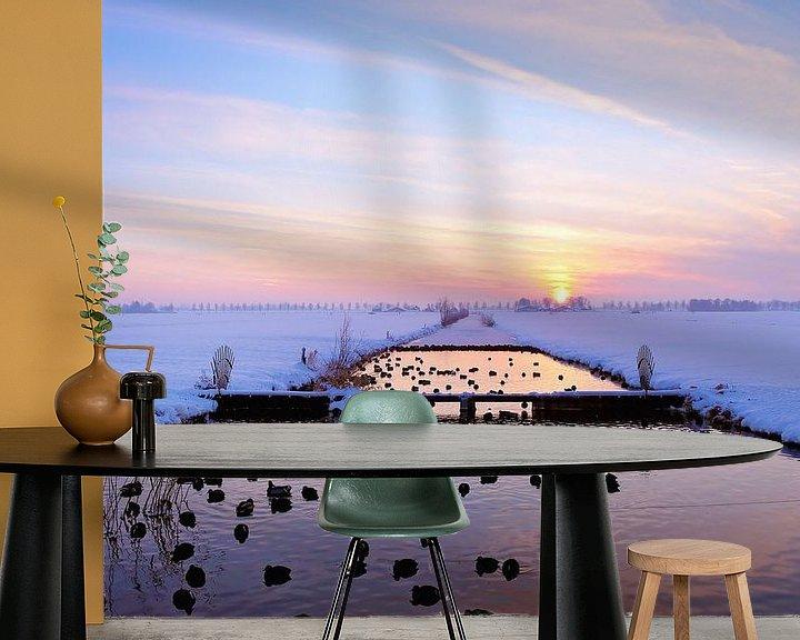 Sfeerimpressie behang: Zonsondergang  in de winter van LHJB Photography