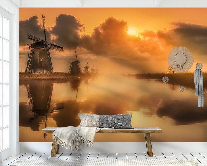 Sfeerimpressie behang: Kinderdijk van Herman van den Berge