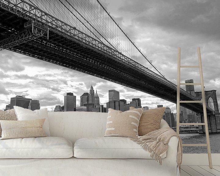 Sfeerimpressie behang: New York Brooklyn Bridge van Peter Pijlman