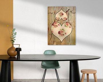 Zwei Rosenherzen . von Dagmar Marina