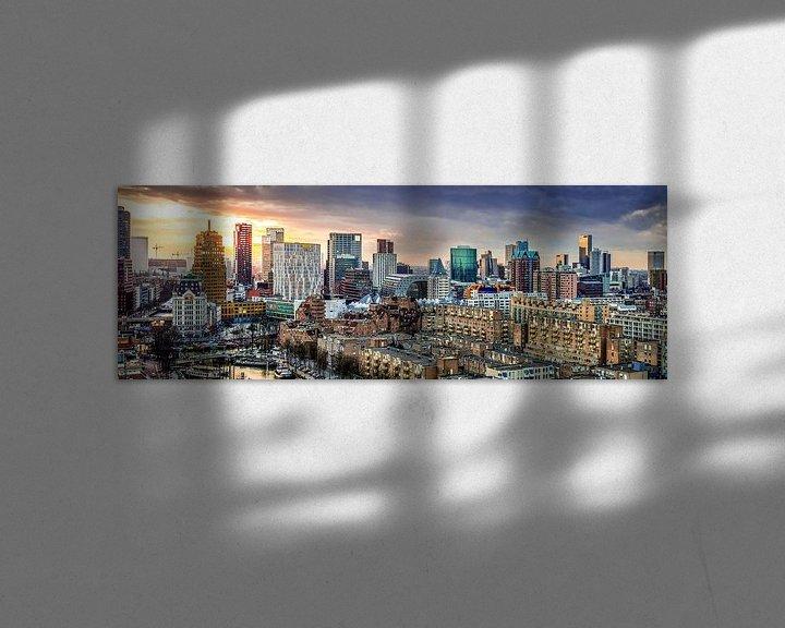 Sfeerimpressie: Skyline city centre Rotterdam sunset van Midi010 Fotografie
