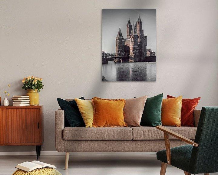 Sfeerimpressie: Haarlem: Amsterdamse Poort bevroren. van Olaf Kramer