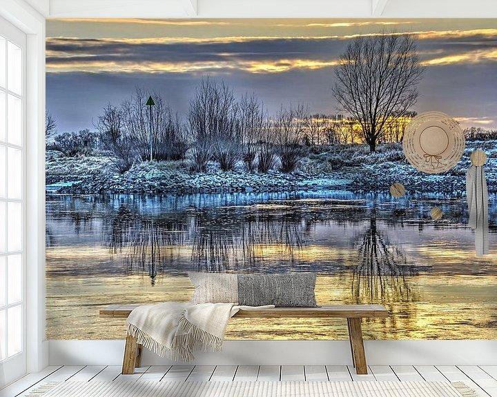 Sfeerimpressie behang: Zonsondergang in Zutphen van Frans Blok