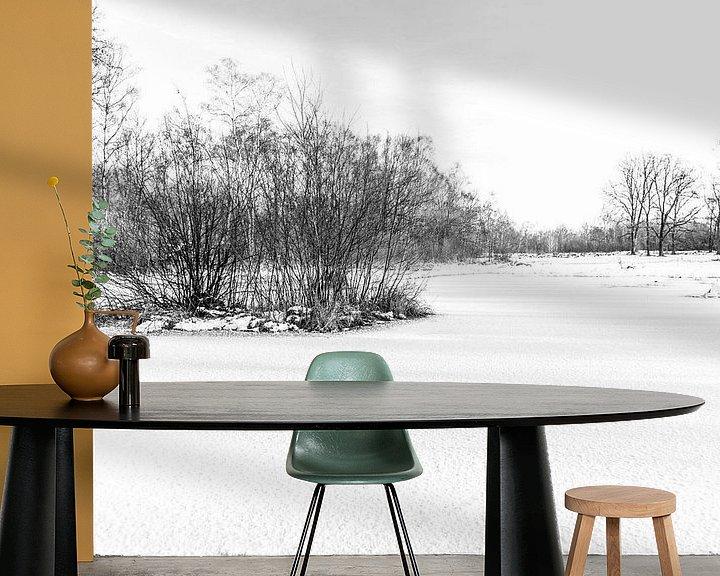 Sfeerimpressie behang: Winter Wonder Landschap van Ratna Bosch