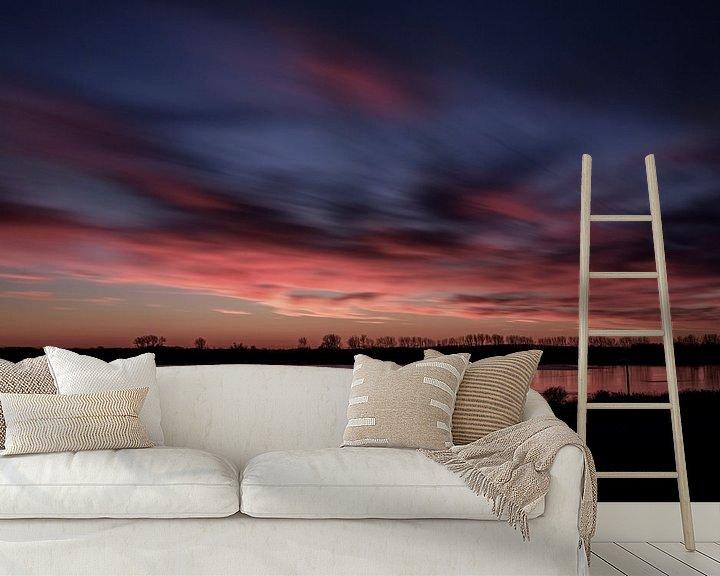 Sfeerimpressie behang: Sunset in wintertime.. II van Miranda van Hulst
