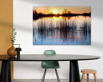 Zonsondergang boven het Lauwersmeer bij Lauwersoog van Evert Jan Luchies