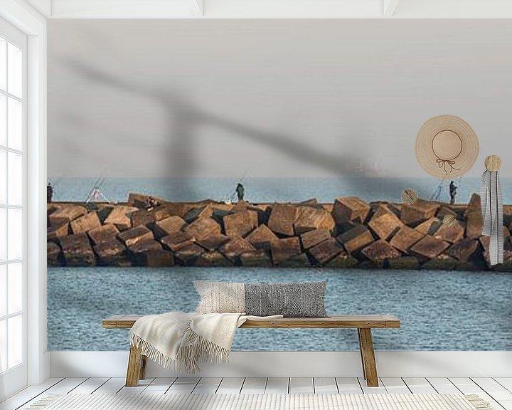 Sfeerimpressie behang: Havenhoofd Scheveningen Nederland van marco de Jonge