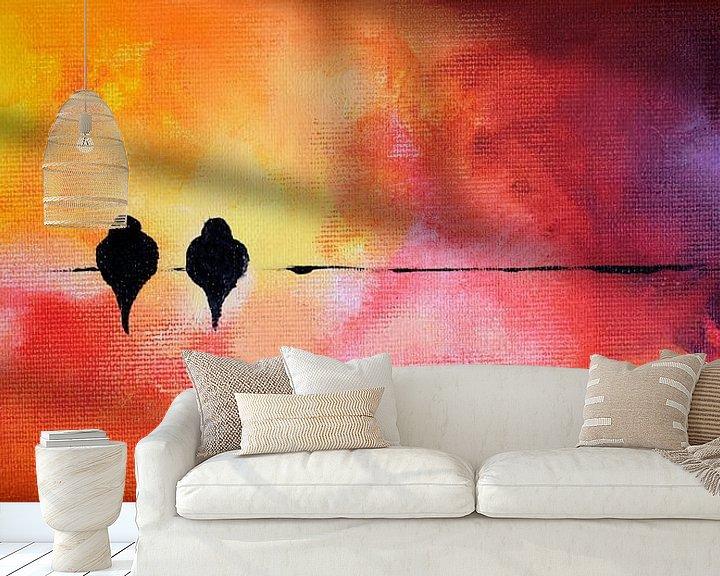 Sfeerimpressie behang: Valentine's Birds 10 van Maria Kitano