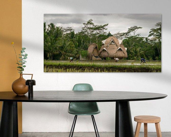 Sfeerimpressie: Ecologisch huis in rijstvelden op Bali van Tom de Groot