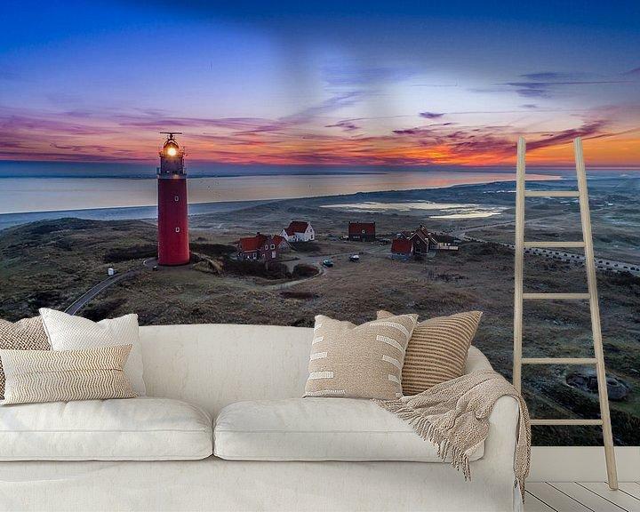 Sfeerimpressie behang: Vuurtoren Eierland Texel van Texel360Fotografie Richard Heerschap