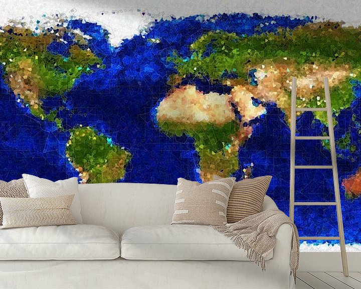 Sfeerimpressie behang: Kubistische wereldkaart van Frans Blok