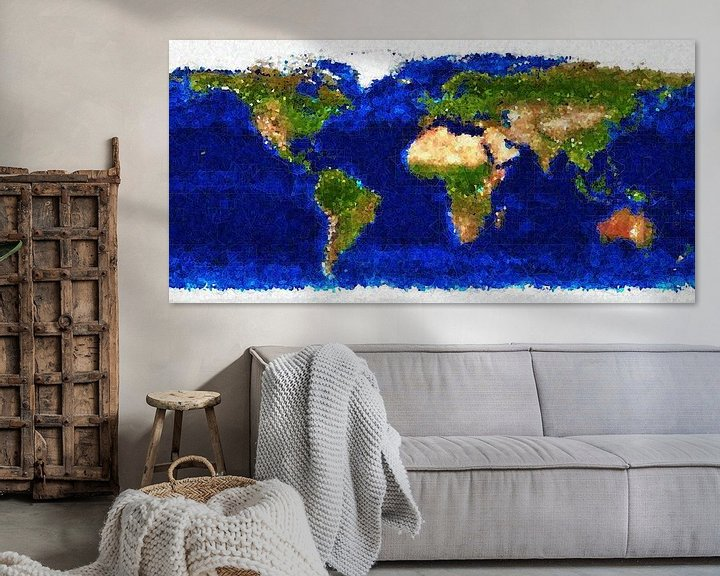 Sfeerimpressie: Kubistische wereldkaart van Frans Blok
