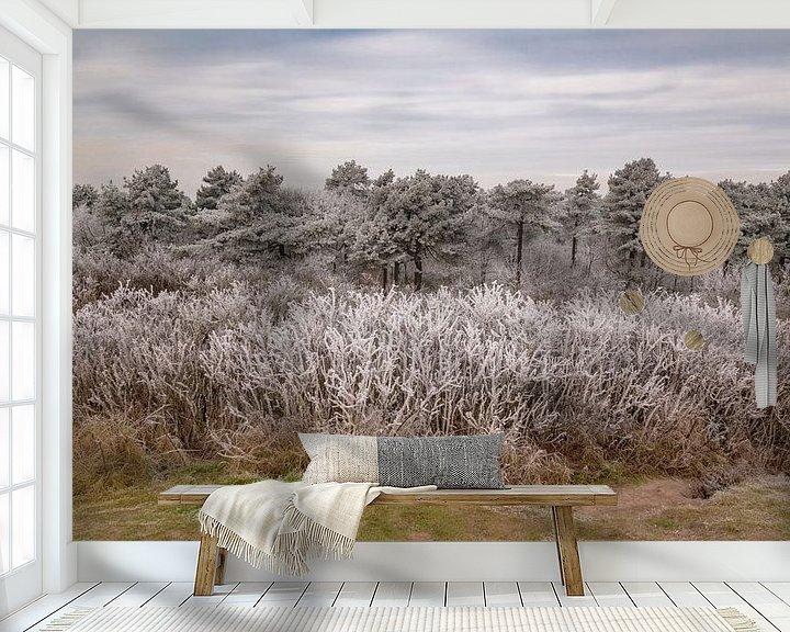 Sfeerimpressie behang: Winter in het Pettemer bos van Mirjam Boerhoop - Oudenaarden