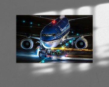 Flugzeug Nachtaufnahme von Bas van der Spek