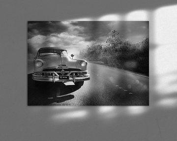 zwart/wit landschap met oldtimer van Kvinne Fotografie