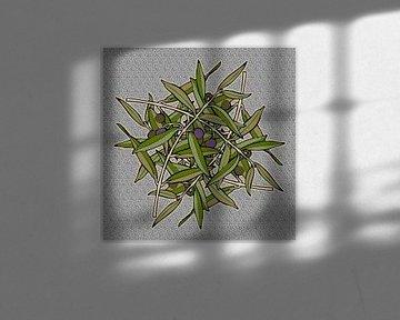 GRAFISCHE PRINT OLIJF 3 von Marijke Mulder