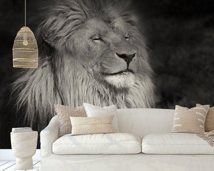 Sfeerimpressie behang: Lachende leeuw van Ellen van Schravendijk