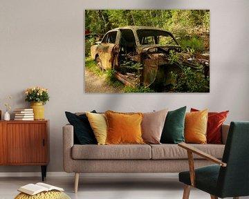 Auto op autokerkhof in het bos van Kvinne Fotografie
