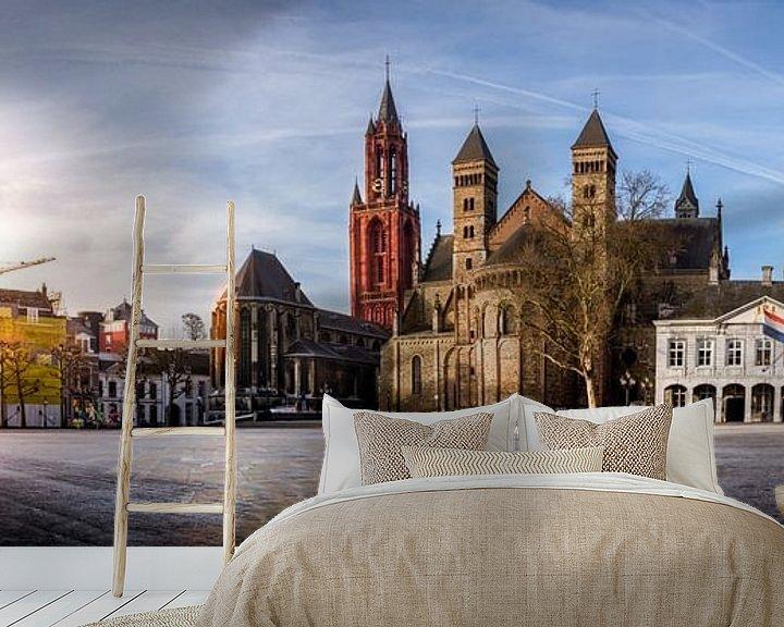 Sfeerimpressie behang: Panorama van het vrijthof in Maastricht van Geert Bollen