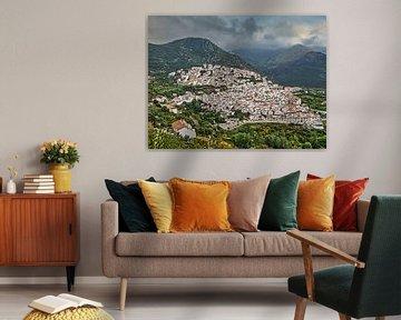 Stadtbild von weißem Dorf Ojen, Spanien