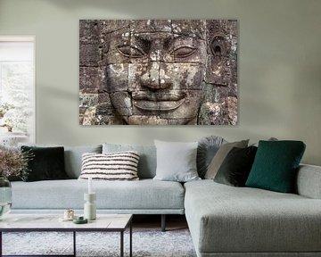 Buddha-Statue in Bayon-Tempel, Angkor Wat von Richard van der Woude