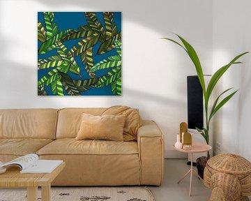 GRAFISCHE PRINT BANANENBLAD 2 van Marijke Mulder