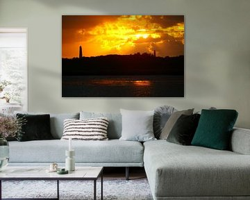 Zonsondergang met natuurlijke spiegel van Gerjo Radema