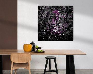 Digital-Art Eiffelturm | rosa/sw  von Melanie Viola