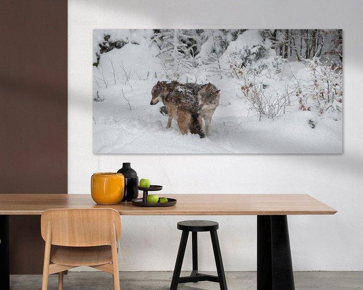 Sfeerimpressie: Wolven in winterlandschap van Monique Pouwels