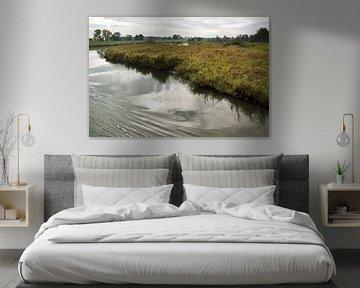 Landschap langs rivier de Linge van Martijn van Huffelen