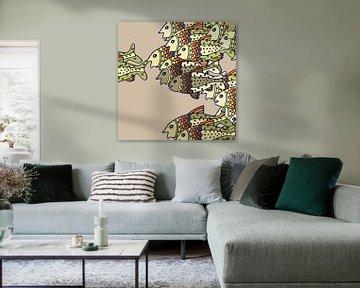 VISSEN grafische print in zachte natuurlijke kleuren von Marijke Mulder