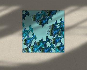 Les Poissons bleus en groupe sur Marijke Mulder
