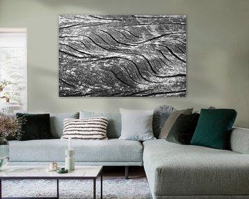 Golven in het hout in zwart-wit von Anne van de Beek
