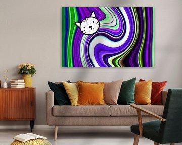 Comic Cat (Kat ontwerp in paars) van Caroline Lichthart