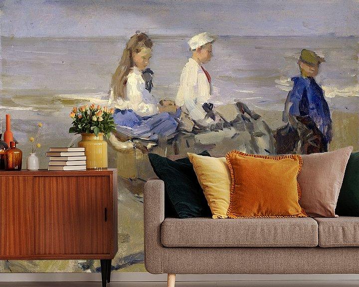 Sfeerimpressie behang: Jongen en meisje op ezeltjes, Isaac Israels