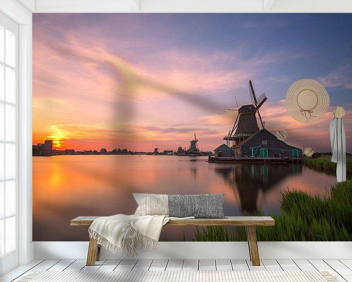 Sfeerimpressie behang: Nederlandse Zijdeachtige Zonsondergang van Pieter Struiksma