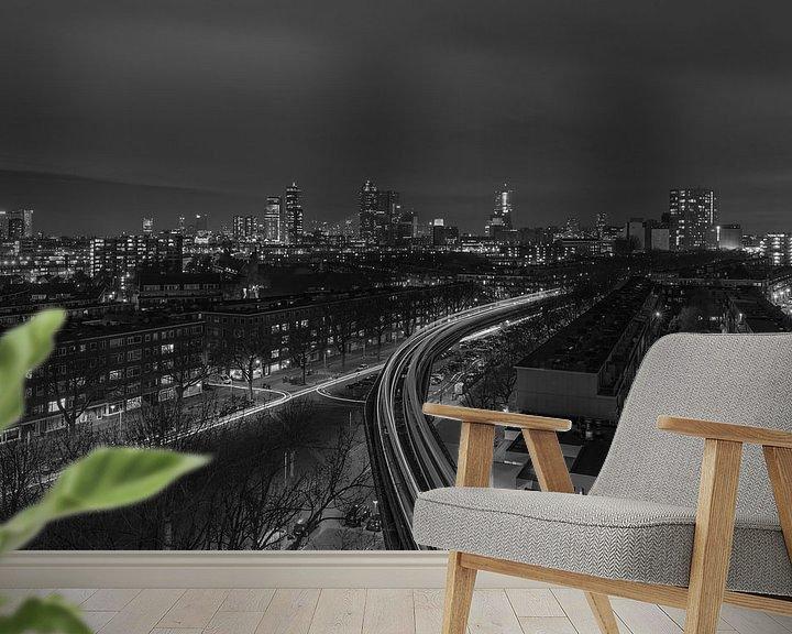 Sfeerimpressie behang: Het uitzicht op de skyline van Rotterdam van MS Fotografie   Marc van der Stelt