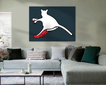 liggende poes, kat op hakken, cat on pumps, high heels, cat van karen vleugel