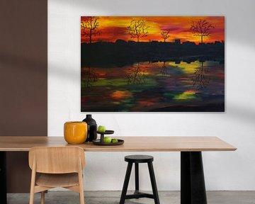 Sonnenuntergang am Fluss van Babetts Bildergalerie