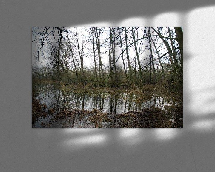 Beispiel: Bomen weerspiegeling in het water langs de Lek von Ingrid Van Maurik